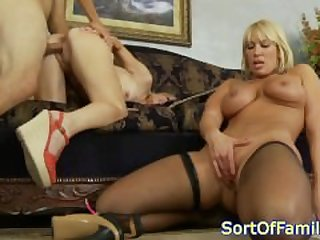 Curvy milf shares cock with petite..