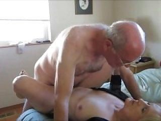 Horny older couple having vaginal sex