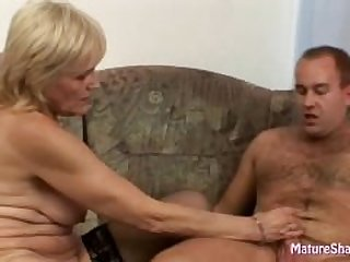 Skinny granny rides dick