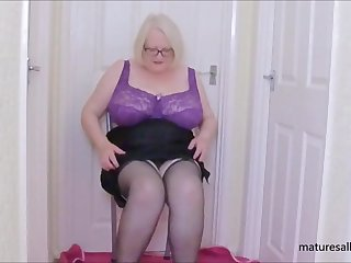 My full purple bra and black slip