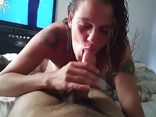 Mature white woman giving blow job to..