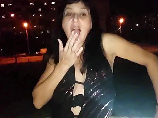 Russian mature mom walking without panties