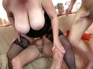 Gorgeous busty MOM fuck two not her sons