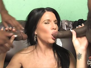 Mature mom fucks two young blacks