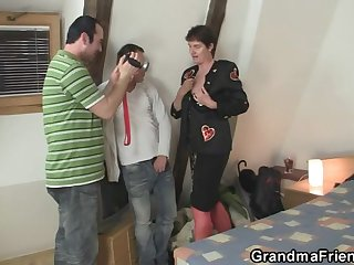 Naughty old granny gets lured into 3some