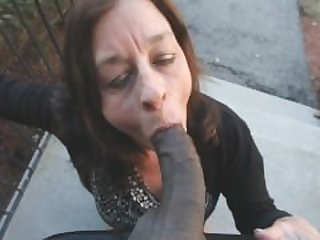 Granny Smoking Black Cock outside her..
