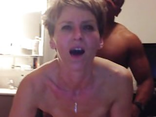 Cougar has anal orgasm from young black..