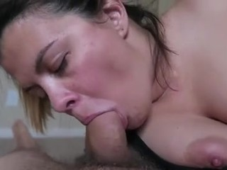 a delicious brunette sucking her cock