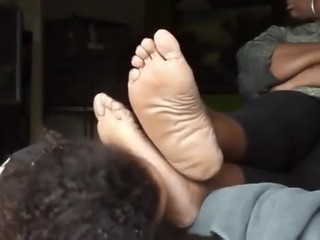 Young girl worship older fat feet