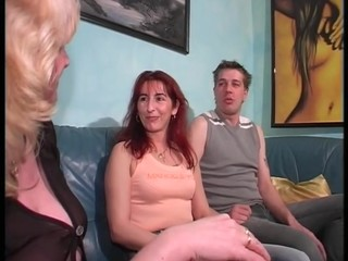 Redhead milf screws and her blonde..
